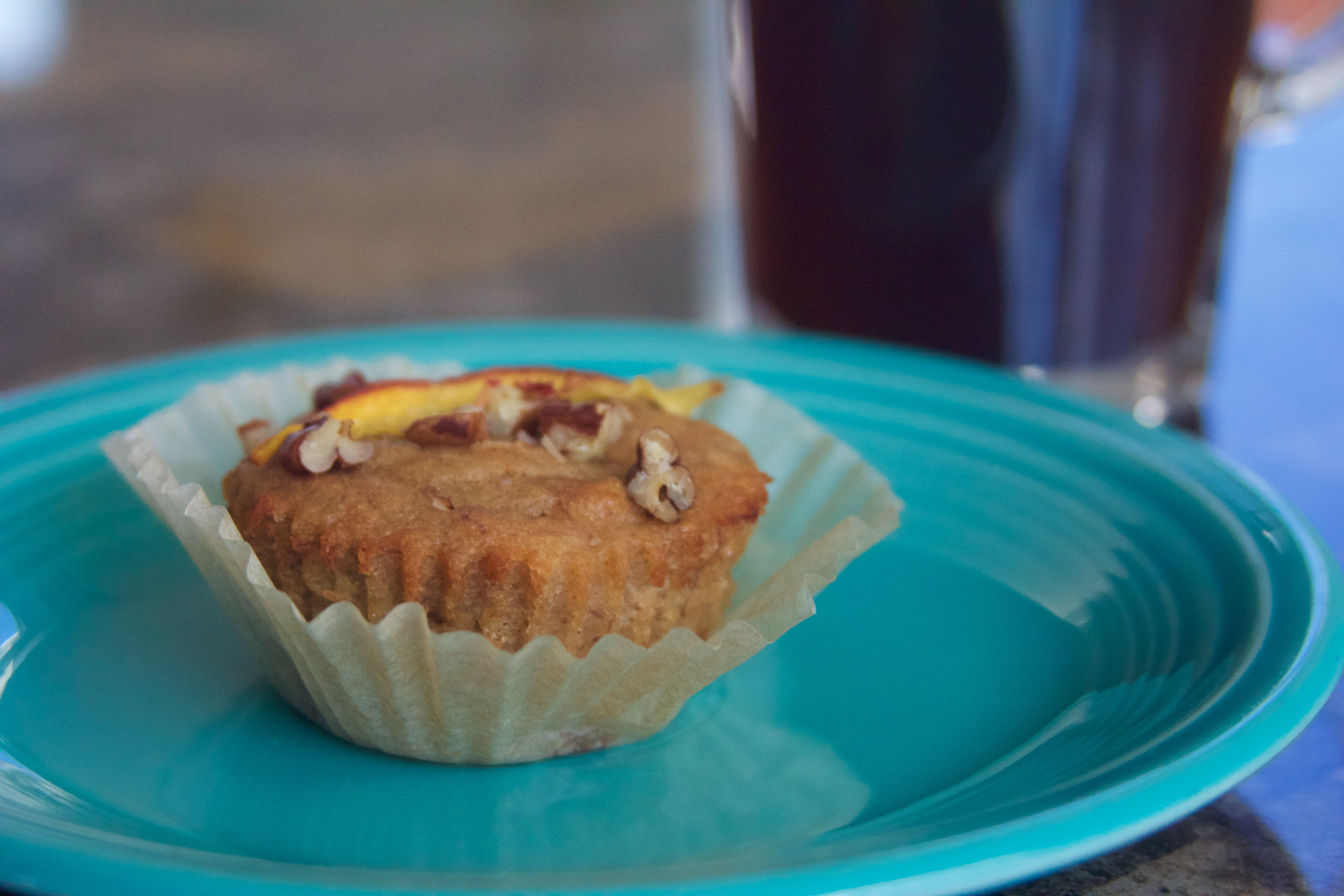 Vegan Peach & Pecan Banana Muffins